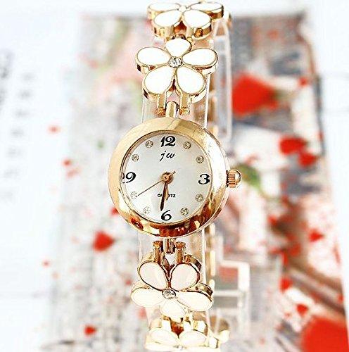 Bracelet style Flower /Watch ladies Watch (white)