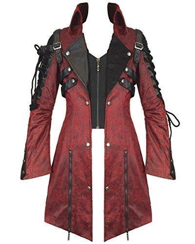 Punk Rave Veleno Giacca Da Uomo Rosso In Finta Pelle Nera Gotica Steampunk Cappotto Militare - sintetico, Rosso, 100% poliestere \n100% poliestere, Uomo, XX-Large, Rosso