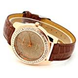 Conbays Brown Band Round Dial Crystal Girls Quartz Wrist Watch Women Lady Gift Luxury