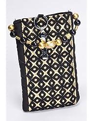 Ethnics Women's Mobile Pouch (Black & Gold) (ETM022)