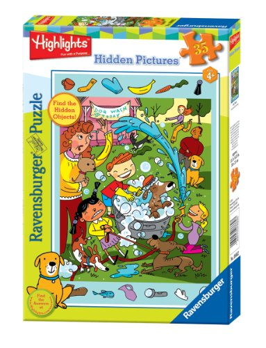 Ravensburger Highlights Dog Wash - 35 Pieces Hidden Pictures Puzzle