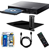 Sony BDP-S1700 Streaming Blu-ray Disc Player w/ Stanley Single Glass Media Shelf, LCD Screen Cleaning Kit and HDMI Cable Bundle