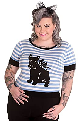 Hell Bunny Plus Size Retro Style Blue & White Striped Scottie Dog Barney Sweater Top