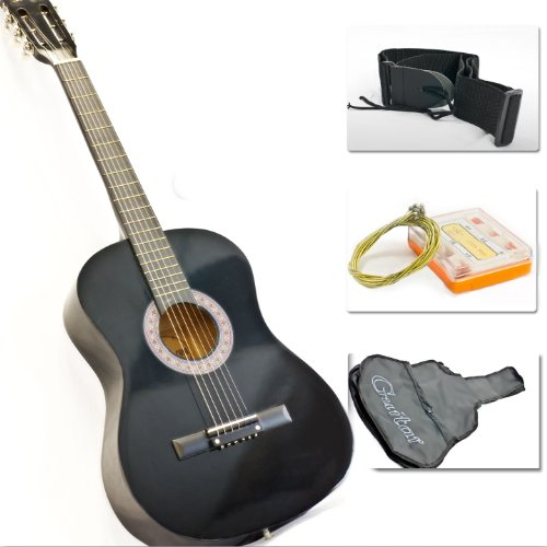 Black Acoustic Guitar with Accessories Combo Kit Beginners