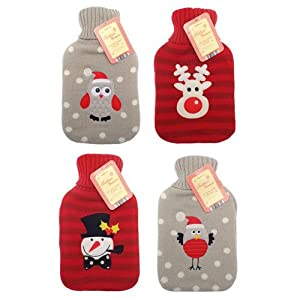 Novelty Knitted Christmas Design Hot Water Bottles