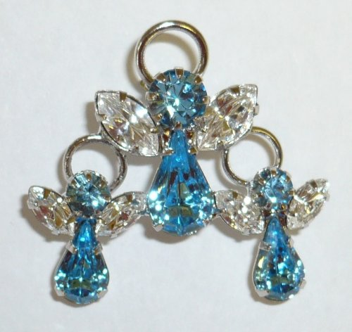 Three Blue Aqua Crystal Angels Pin