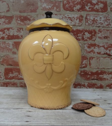 Tuscany Hand Painted Fleur De Lis Yellow Cookie Jar, 82024 By Ack back-386914