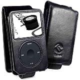 Tuff-Luv Premium - Funda de piel napa para Apple iPod Classic (80GB / 120GB / (160GB - Edición de 2009 sólo), color negro