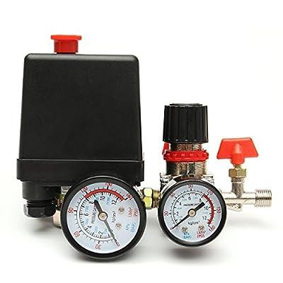 125PSI Air Compressor Pressure Valve Switch Control Manifold Regulator Gauges