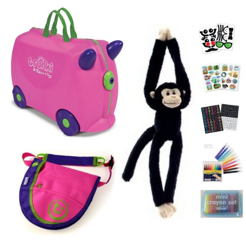 Melissa & Doug Pink Trunki with Monkey, Pink/Purple Saddlebag, and Trunki Suitcase Stickers Bundle of 7 Items by Bundles of Fun