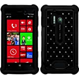 Black Elegant Diamond Back Cover with Additional Silicone Skin For Nokia Lumia 928 4.5in Display + Supertooth Disco Bluetooth Speaker with AUX Cable