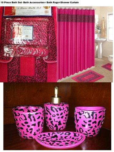 19 Piece Bath Accessory Set Pink Leopard Bathroom Rugs U0026 Shower Curtain U0026  Accessories Review