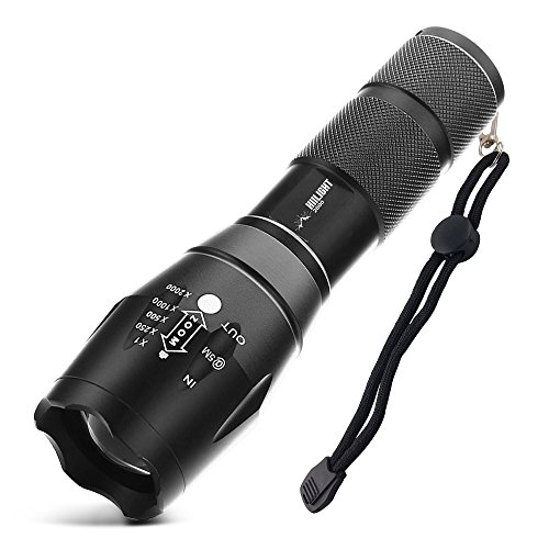 HIILIGHT LED Flashlight Torch 2000 CREE XM-L T6 Zoomable Focus Adjustable Beam 5 Mode for Camping Cycling Hiking black