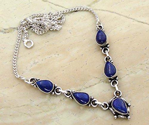 Genuine Lapis Lazuli 925 Silver Overlay Handmade Fashion Necklace Jewelry