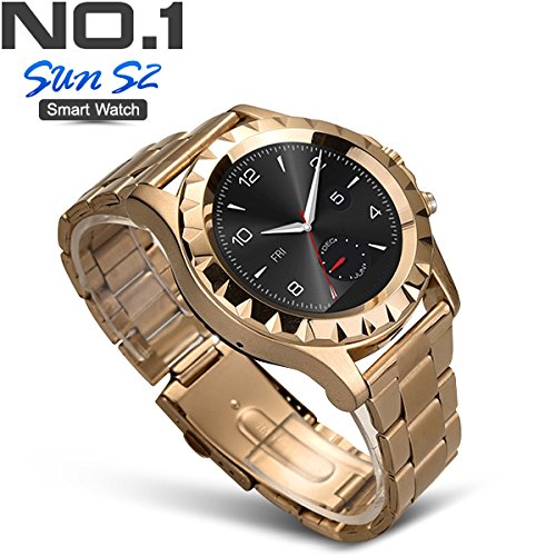 No.1 SUN S2 Gold IPS Touch Screen Smart Watch Phone Steel IOS Android Wear