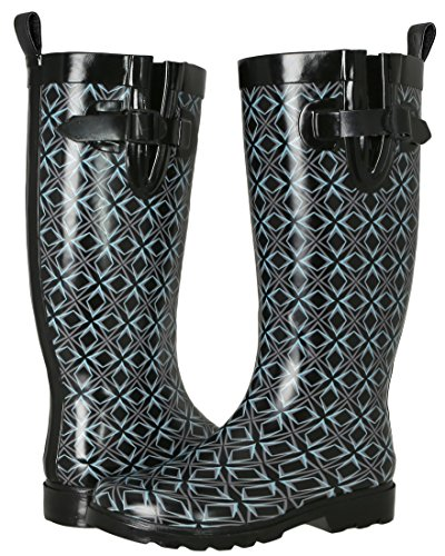 Capelli New York Ladies Shiny Geo Grpahic Diamond Printed Rain Boot Black combo 8 (Rain Boots Printed compare prices)