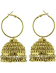 Tradisyon Bollywood Celebrity Inspired Light Weight Golden Jhumki By Kaizer - DS-08