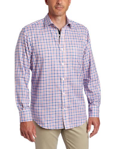 LINCS DC & Co Men's Long Sleeve Bradford Plaid Woven Shirt, Bermuda Red, Large Picture