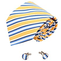 Yellow Stripes Men in Suits and Ties Gold Accessories Ties Cufflinks A2059 One Size yellow,gold