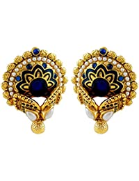 Gehnamart Yellow Gold Plated Pearl And Blue Imitation Onyx Designer Stud Earring