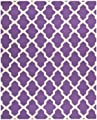 Bordered Rug in Purple and Ivory