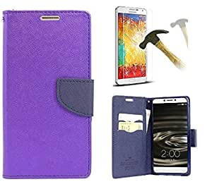 Samsung Galaxy J2 Mercury Flip Wallet Diary Card Case Cover (Purple + OTG+ TEMPERED) By Mobile Life