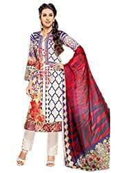 Lebaas Cotton Embroidered Salwar Suit Dupatta Material (Un-stitched) - (With Discount and Sale Offer)