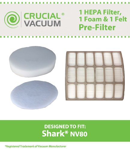 Shark NV80 UV420 HEPA Filter, Foam & Felt Filter, Part # XHF80 & XFF80 (Shark Filters Xff80 compare prices)