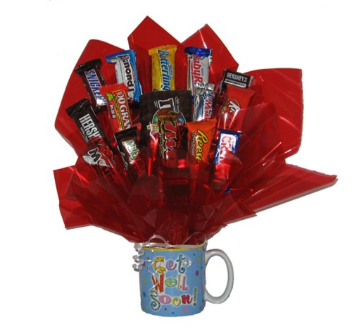 Chocolate Candy Bouquet in a Get Well Soon Mug
