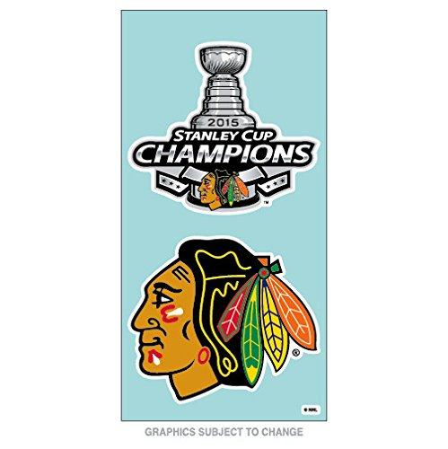 Chicago Blackhawks Official NHL 4 inch x 8 inch 2015 Stanley Cup Champions Perfect Cut Car Decal 2-Pack by Wincraft 097439