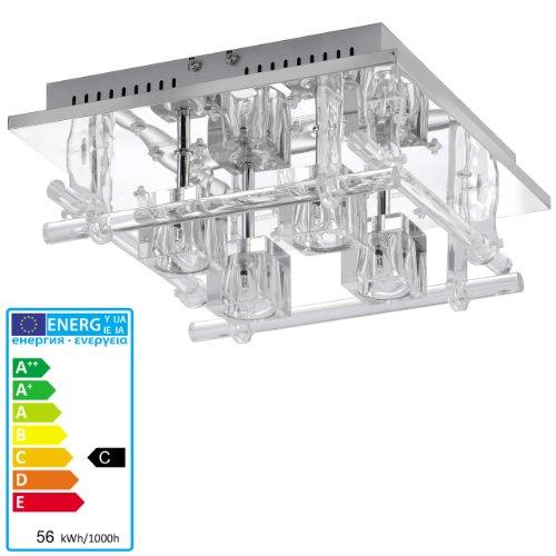 ECO Deckenleuchte Deckenlampe, chrom mit Glaswürfeln, Farbwechsler mit Fernbedienung, LED/Halogen
