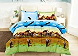3 Piece Set Wild Horse and Eagle 3d Comforter Set (Y25) Queen