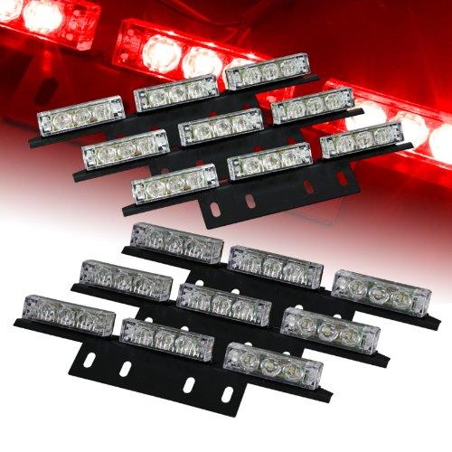 54 Bright Red Led Law Enforcement Flash Strobe Lights Bar For Windshield / Dash / Deck / Grille