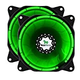 Asiahorse SOLAR ECLIPSE-Ultra Quiet Bearing 120mm DC Led Fan for Computer Cases, Long Life CPU Coolers 2PACK,green
