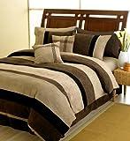 Black Jacaranda Striped Microsuede Luxury Duvet Comforter Cover 6 piece Bed ....