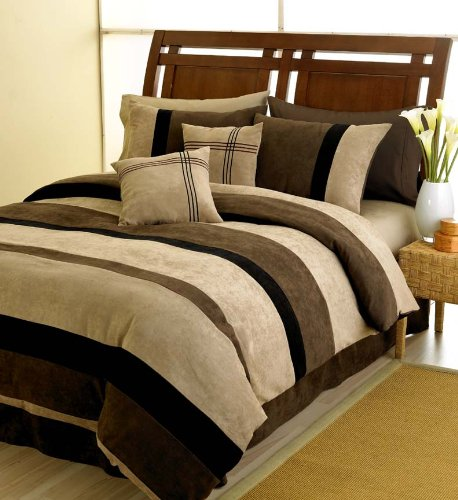 Black Jacaranda Striped Microsuede Luxury Duvet Comforter Cover 6 piece Bedding Set - King Size