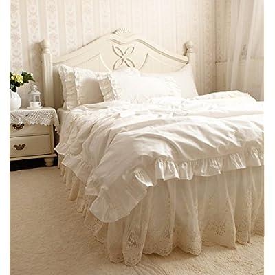 寝具カバーセット 【お姫様の夢が実現!】綿100%ライトクリーム色レース寝具カバーセット (シングル)