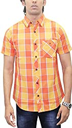 AA' Southbay Men's Orange Checks 100% Premium Cotton Half Sleeve Business Casual Shirt