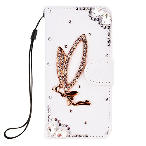 SMARTLEGEND PU Pelle Cover per Huawei P9 Lite,Interno Rigida Leather Wallet Stand Case per Porta Carte di Credito, Disegno di Cristallo Bling Strass Diamond Protettiva Portafoglio Custodia Bianco Caso con Cordoncino - Angel Girl