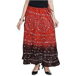 SHREEMANGALAMMART Rajasthani Red-Black Bandhej Design Cotton Skirt(Red-Black)(SMSKT539)
