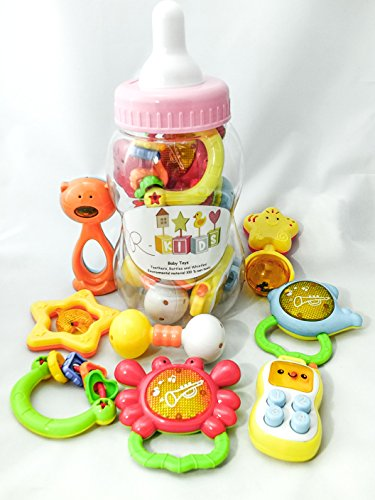 Baby-Rattle-Teether-and-Toy-Set-from-R-Kids-8-Fun-and-Colorful-Toys-Includes-a-Phone-with-Buttons-to-Push-and-2-Teethers-that-Whistle-Giant-Baby-Bottle-Stores-Toys-and-Doubles-as-a-Coin-Bank