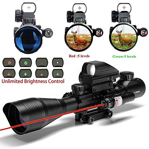 UUQ-Clarity-C4-12X50-Combo-Rifle-Scope-Dual-Illuminated-Mil-Dot-with-Red-Laser-Dot-Sight-and-4-Tactical-Multi-Optical-Coated-Holographic-Red-and-Green-Dot-Sight-for-Hunting-AR15