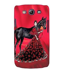 PrintVisa Fashion Horse Girl Dress Design 3D Hard Polycarbonate Designer Back Case Cover for Samsung Galaxy S3