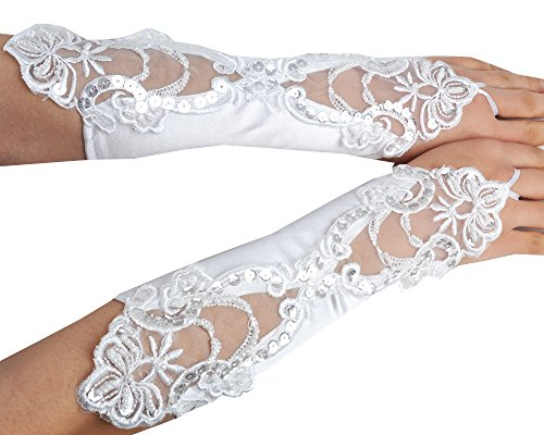 JISEN Women's Banquet Party Lace Bridal Wedding Gloves Gift with Pearl 11