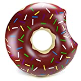 """38"""" Donut Pool Float, Chocolate Frosted with Rainbow Sprinkles by Sol Coastal"""