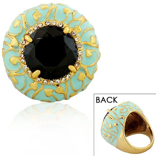 Stainless Steel Yellow Gold Plated Turquoise Green Blue Black White Crystals Cz Large Statement Cocktail Womens Ring Size 7