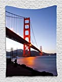 """Golden Gate Bridge San Francsisco Tapestry Wall Hanging Art Work for Home Walls - 40""""Wx60""""L - Living Room / Bedroom / Dorm Decor - One of a Kind - Machine Washable - Shiny Silky Saten"""