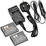 DSTE 2pcs Li-90B Rechargeable Li-ion Battery + Charger DC16U for Olympus Tough TG-1 iHS, SH-50 iHS, Tough TG-2 iHS, XZ-2 iHS Digital Cameras