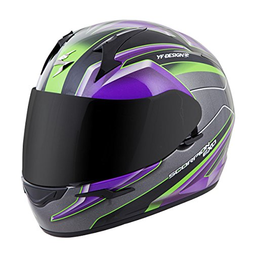 Scorpion EXO-R410 Unisex-Adult Full Face Motorcycle Helmet (Purple/Silver, Small) (Kona)