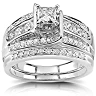 Princess Diamond Wedding Ring Set 1 C…